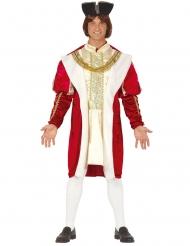 Driekleurig klassiek middeleeuwse koning kostuum voor heren