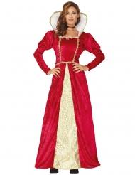 Goudkleurige en rode middeleeuwse koningin outfit voor dames
