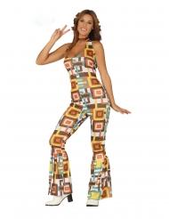 Gekleurd geometrisch disco kostuum voor dames