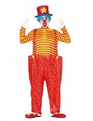 Rood en geel grappig clown kostuum voor heren