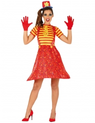 Grappig rood en geel clownskostuum voor dames