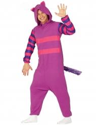 Paars en roze gestreepte kat kostuum voor volwassenen