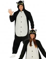 Zwart en wit kat kostuum met capuchon voor volwassenen