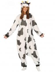 Zwart en wit gevlekt koeienkostuum voor volwassenen
