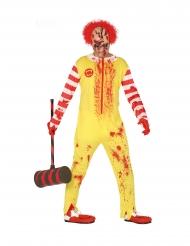 Rood en geel zombie clown kostuum voor volwassenen