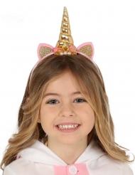 Goud met roze eenhoorn haarband voor kinderen