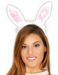 Witte en roze konijn oren voor volwassenen
