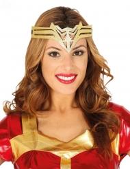 Goudkleurige superheldin haarband voor vrouwen