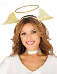 Goudkleurige engel haarband en vleugels voor vrouwen