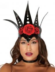 Zwarte koningin kroon met rode rozen voor vrouwen