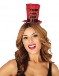 Rode mini cheerleader hoge hoed voor vrouwen