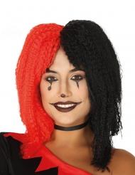 Licht gekrulde zwarte en rode harlekijn pruik voor vrouwen