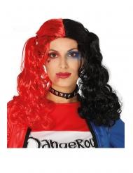Zwarte en rode gekrulde pruik met staartjes voor vrouwen