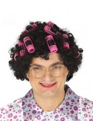 Zwarte gekrulde pruik met haarspelden voor volwassenen