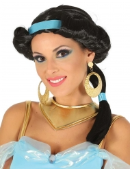 Oosterse prinses pruik met blauwe hoofdband voor vrouwen