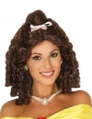 Bruine prinses pruik met roze strik voor vrouwen
