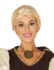 Blonde viking pruik met knotje en vlechten voor vrouwen