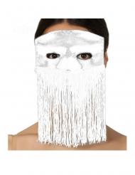 Wit Venetiaans masker met franjes voor volwassenen