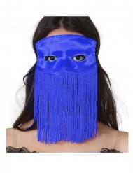 Blauw masker met franjes voor volwassenen