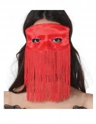 Rood Venetiaans masker met franjes voor volwassenen