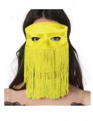 Geel Venetiaans masker met franjes voor volwassenen