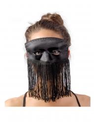 Luxe zwart zijdeachtig masker met franjes voor volwassenen