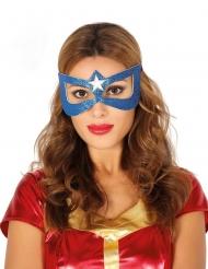 Blauw superheldin masker met ster voor volwassenen