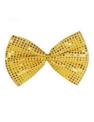 Enorm strikje met grote goudkleurige lovertjes voor volwassenen