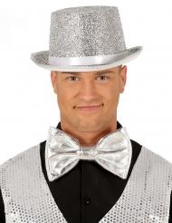 Enorm zilverkleurig disco strikje voor volwassenen