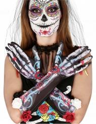 Dia de los Muertos bloemen skelet handschoenen voor volwassenen
