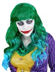 Groene en blauwe psychopaat pruik voor vrouwen