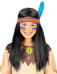 Indianen pruik met haarband en blauwe veer voor kinderen