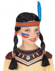 Indianen pruik met hoofdband en veer voor kinderen