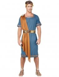 Blauw en oranje Romeinse keizer kostuum voor volwassenen
