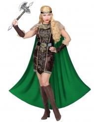 Viking kostuum met groene cape voor vrouwen