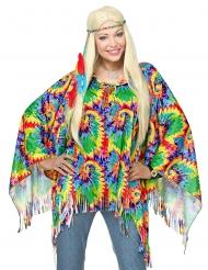 Psychedelische hippie poncho en hoofdband voor volwassenen
