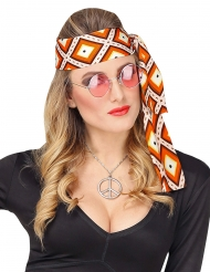 Jaren 70 hippie ruiten hoofdband voor volwassenen