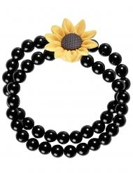 Zwarte hippie zonnebloem kralen armband voor volwassenen