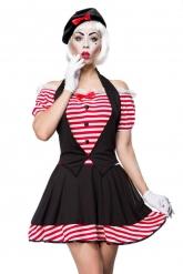 Sexy gestreept mime kostuum voor vrouwen