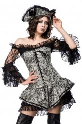 Sexy zilverkleurige piraten korset kostuum voor vrouwen