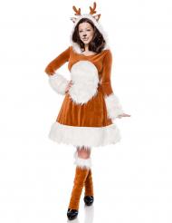 Luxe bruin en wit rendier kostuum voor vrouwen