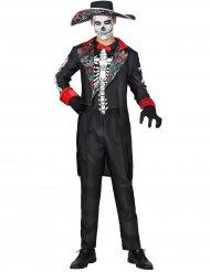 Zwart Dia de los Muertos kostuum met bloemen opdruk voor mannen