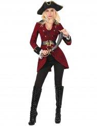 Bordeaux rode en goudkleurige piraten outfit voor vrouwen