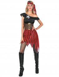 Gestreept piraten kostuum met doodskop voor dames