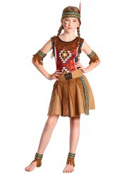 Bruine en kleurrijke indiaan outfit met hoofdband voor meisjes