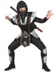 Zwart en zilverkleurig shuriken ninja kostuum voor kinderen
