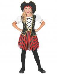 Zwart met rood piraten kapitein pak voor meisjes