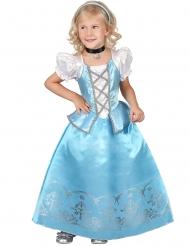 Witte en blauwe sprookjes prinses outfit voor meisjes