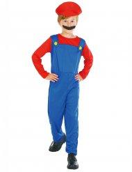 Rood en blauw videogame loodgieter kostuum voor jongens