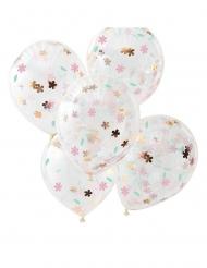 5 doorzichtige latex bloemen confetti ballonnen